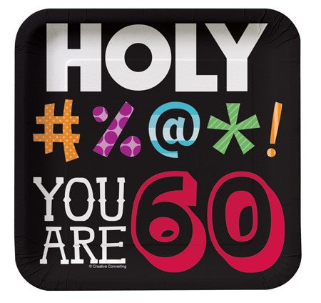 "Holy Bleep ""YOU ARE 60"" Square Lunch Plates - nyea's Party Store"