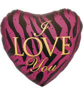 "18"" I love you zebra Foil Balloon"