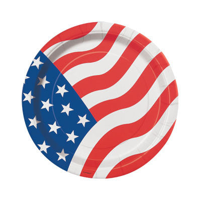 Patriotic American Flag 7 inches Plates - nyea's Party Store