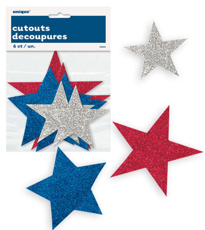 Patriotic Stars Assortment Cutouts - nyea's Party Store