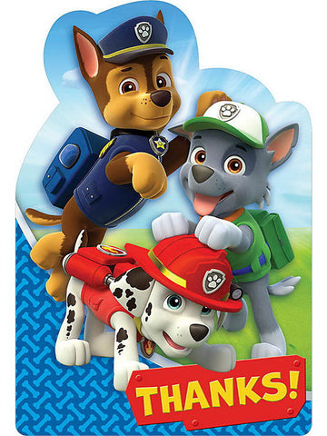 Thank You Paw Patrol Cards - nyea's Party Store