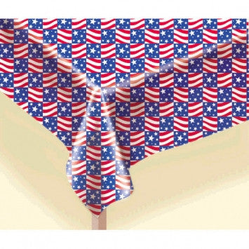 Patriotic Red, White & Blue Flannel-Backed Vinyl Table Cover - nyea's Party Store