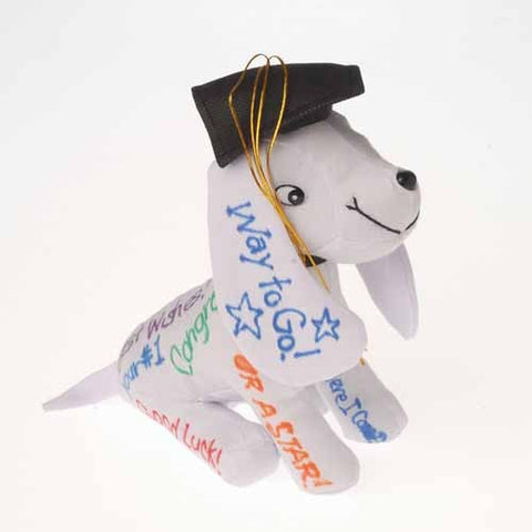 Plush Autograph Dog with Graduation Hat - nyea's Party Store