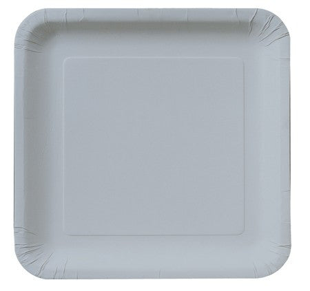 "Shimmering Silver 7.25"" Square Lunch Plates - Solid - nyea's Party Store"