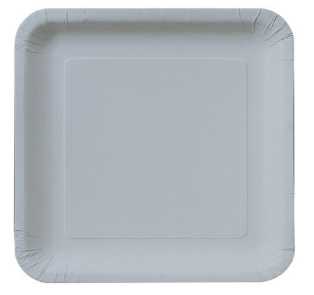 "Shimmering Silver 9"" Square Dinner Plates - Solid - nyea's Party Store"