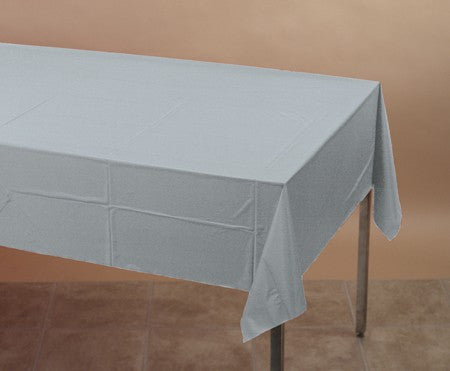Shimmering Silver 54 x 108 Plastic Table Cover - nyea's Party Store
