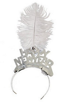Silver Foil Tiara with Plum Feather, Happy New year - nyea's Party Store