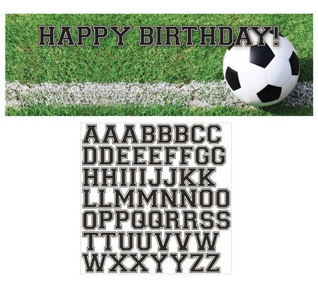 Soccer - Giant Customizable Party Banner with Stickers - nyea's Party Store