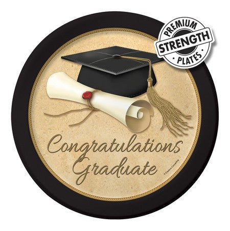 Sophisticate Grad Dinner Plates - nyea's Party Store