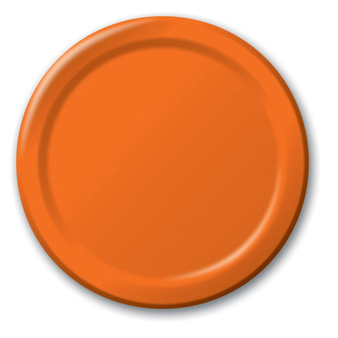 Orange 7 inches Lunch/Dessert Paper Plates - nyea's Party Store