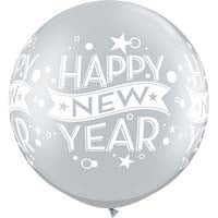 "30"" Silver New Years Confetti Dot Latex Balloons"