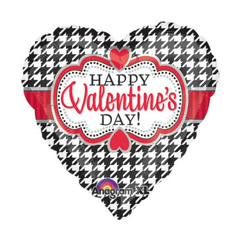 "18"" Happy Valentine's Day Houndstooth Foil Balloon #328"