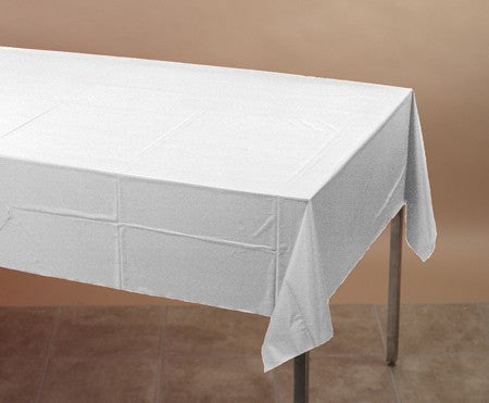 White 54 x 108 Plastic Table Cover - nyea's Party Store