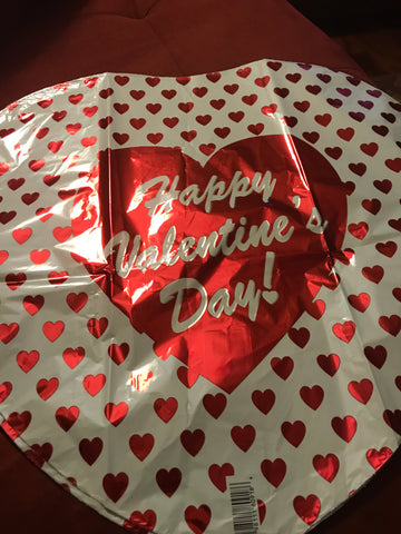 "18"" Happy Valentines Day Script Small Hearts, Heart Shaped Foil Balloon #448"