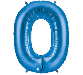 "40"" Megaloon #0 Blue Foil Balloon - nyea's Party Store"