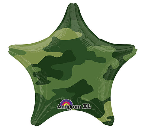 "19"" Camouflage Star Shaped Foil Balloon"