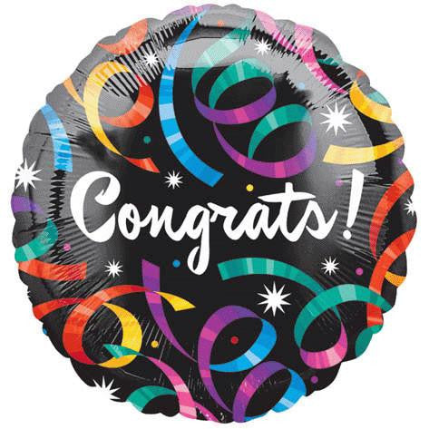 "18"" Congrats Streamers Foil Balloon"
