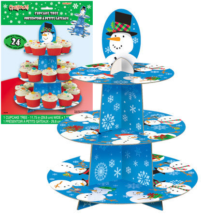 Christmas Cupcake Tree with Snowman Design - nyea's Party Store