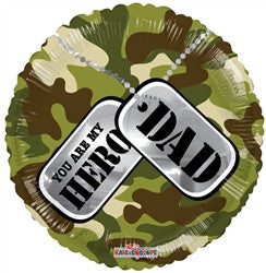 18 inch Fathers Day My Hero Dad Foil Balloon - Nyea's Party Store