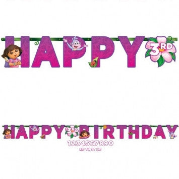 Dora's Flower Adventure© Jumbo Add-An-Age Letter Banner - nyea's Party Store