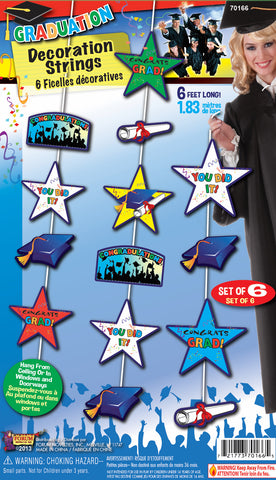 GRADUATION HANGING DECORATION - 6PC - nyea's Party Store