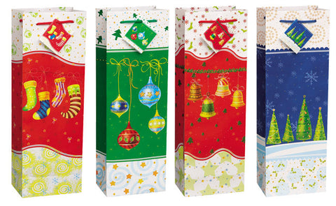 Holiday Spirits Gift Wine Bags - Christmas - nyea's Party Store