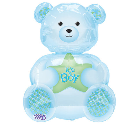 "24"" It's A Boy Bear Shaped Foil Balloon - Nyea's Party Store"