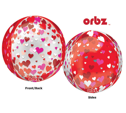 "16"" LUV Orbz Floating Hearts Balloon"
