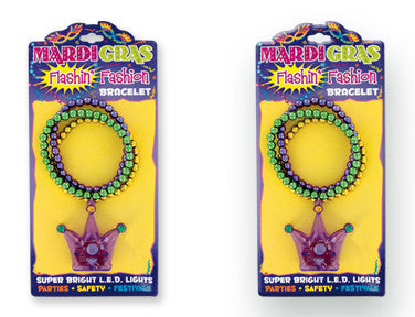 Mardi Gras Flashing Bead Bracelet