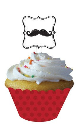 Mustache Cupcake Wrappers with Toppers little man - nyea's Party Store