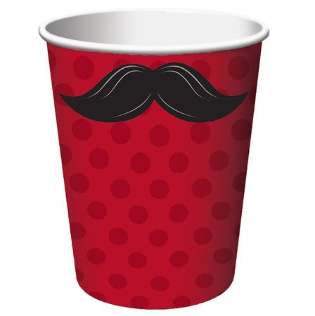 Mustache Themed 9oz Cups - nyea's Party Store