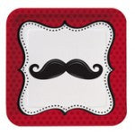 9 Inch Square Plates with Mustache Little man - nyea's Party Store