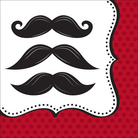 Mustache Themed Lunch Napkins - nyea's Party Store