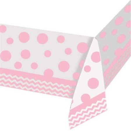 Pink Plastic Chevron Tablecover