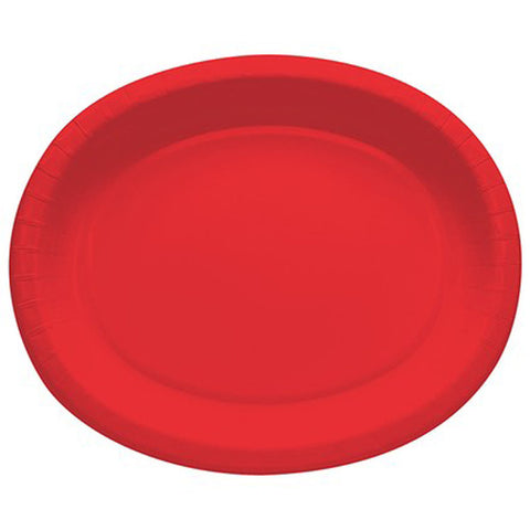 Red 10 x 12 inches Oval Paper Platters - nyea's Party Store