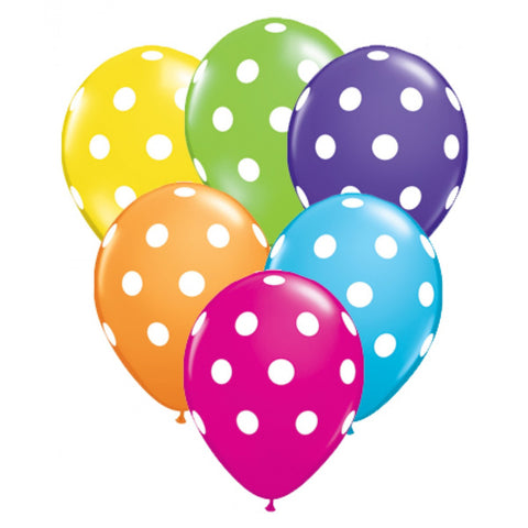 "11"" Big Polka Dots Latex Balloons 6CT"