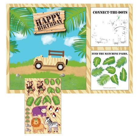 Safari Adventure Placemat Activity w/ Stickers - nyea's Party Store
