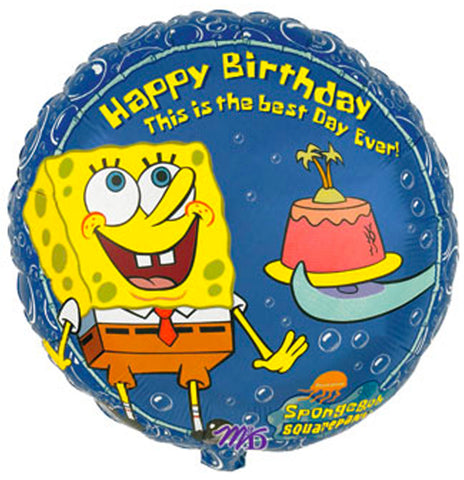 "18"" Happy Birthday Spongebob Squarepants  Foil Balloon"