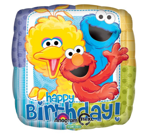 "17"" Happy Birthday Square Shaped Sesame Street Foil Balloon"