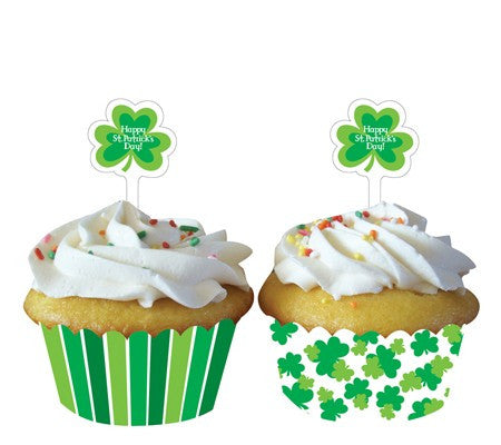Shamrock Cupcake Wrappers - nyea's Party Store