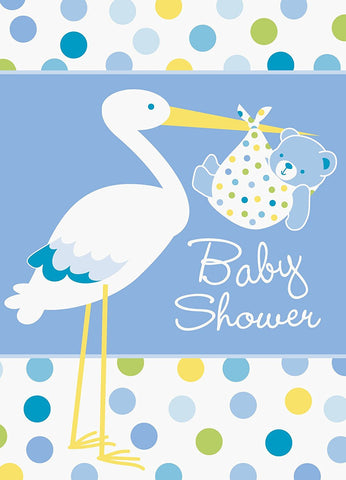 Baby Boy Stork Invites - nyea's Party Store