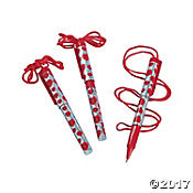 Valentine Pen on a Rope 12CT - nyea's Party Store
