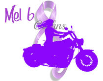 Purple Graphic of woman on motorcycle and Crohn's disease support ribbon