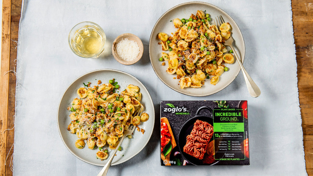 Zoglo's Pasta, Peas and Plant-Based Ground