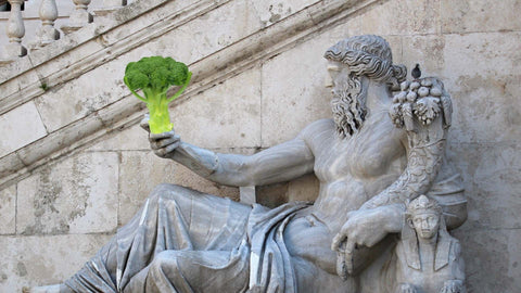 rome statue eating a broccoli