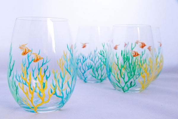 Coral Wrap Stemless Set