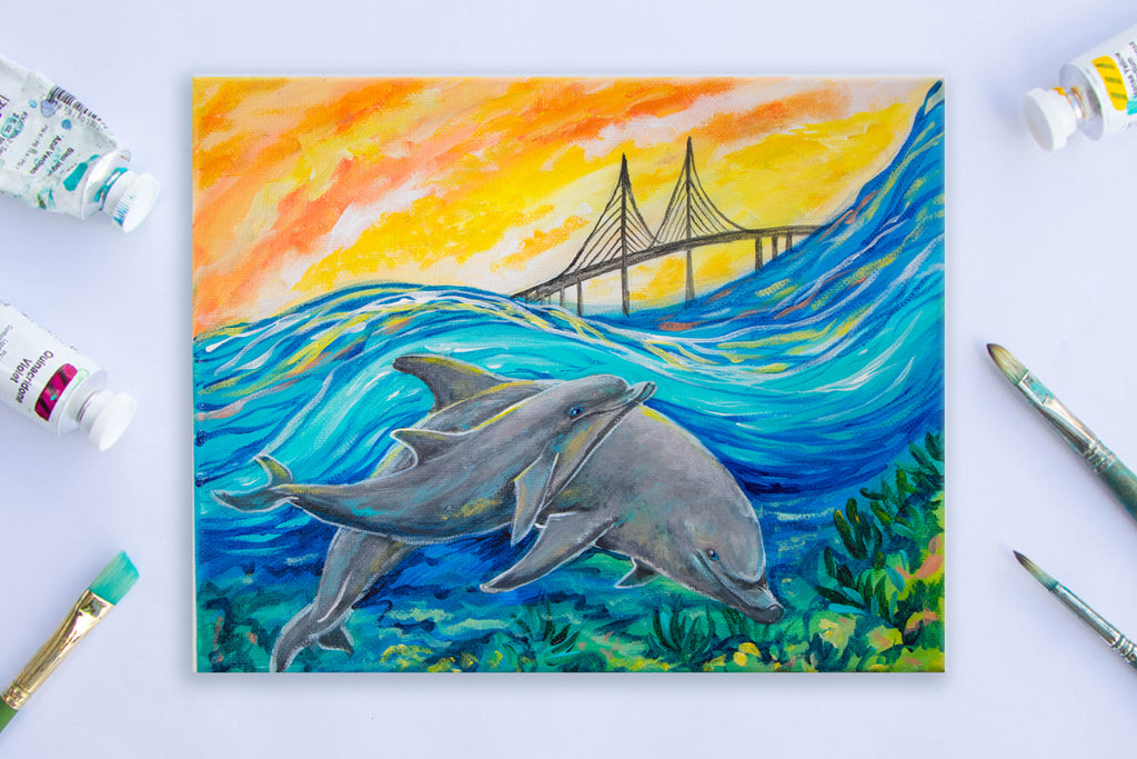 Dolphins beneath the Skyway