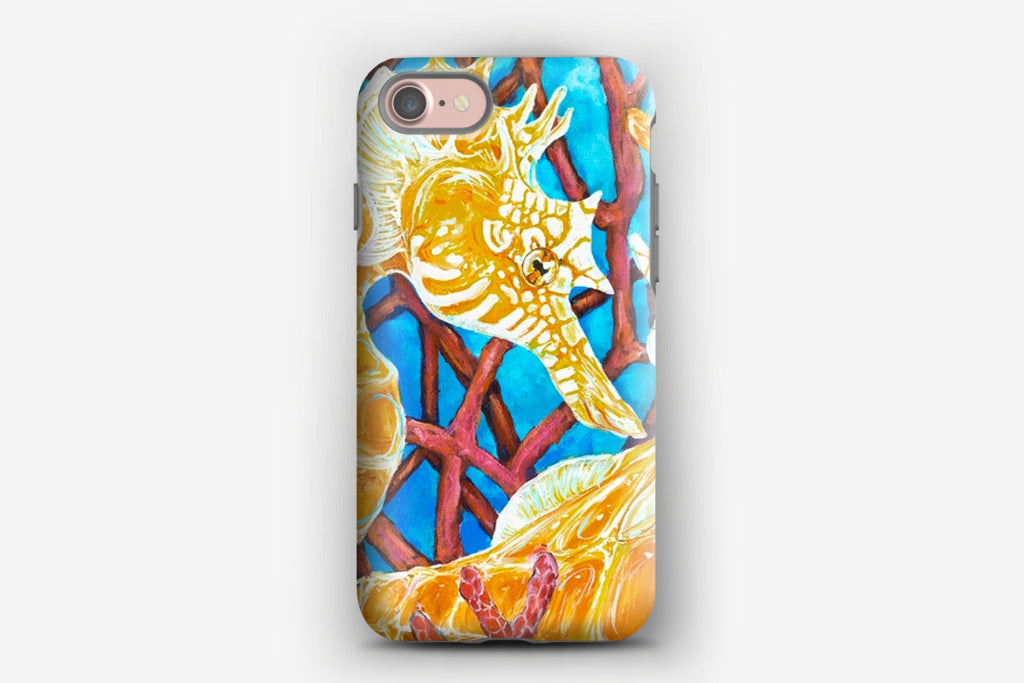 iPhone Tough Case - Lined Seahorse