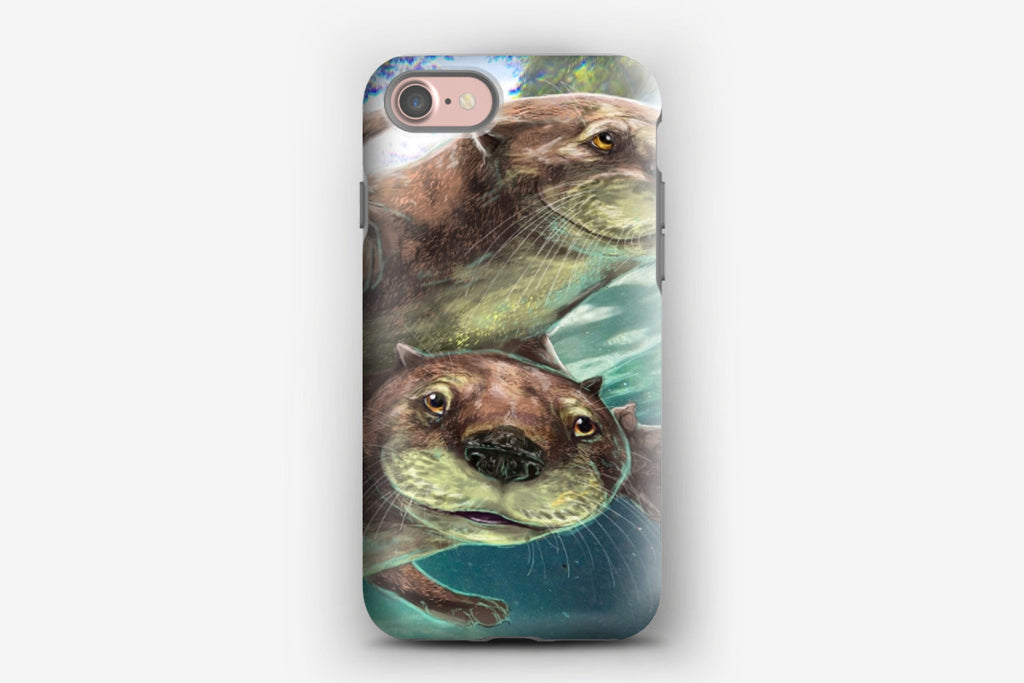 iPhone Tough Case - Playful River Otters