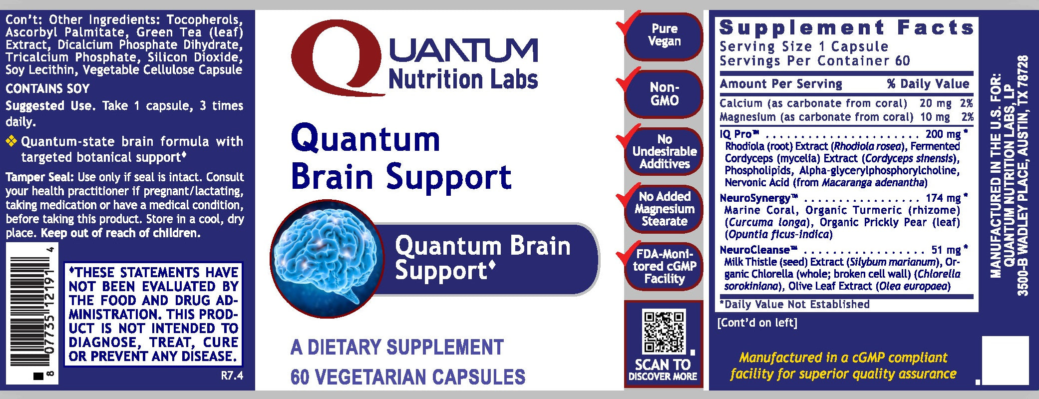 Quantum Brain Support, 60 vcaps